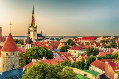 Tallinn, Estonia: aerial top view of the old town at night Royalty Free Stock Image