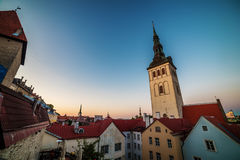 Tallinn, Estonia: aerial top view of the old town at night Stock Photography