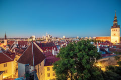Tallinn, Estonia: aerial top view of the old town at night stock photo