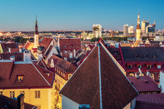Tallinn, Estonia: aerial top view of the old town at night Stock Image