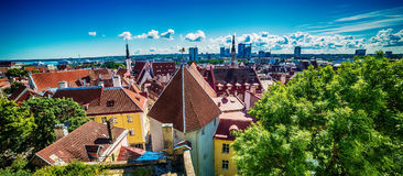 Tallinn, Estonia: aerial top view of the old town Royalty Free Stock Photo