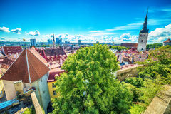 Tallinn, Estonia: aerial top view of the old town Royalty Free Stock Photography