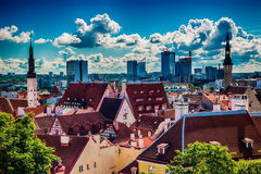 Tallinn, Estonia: aerial top view of the old town Royalty Free Stock Images