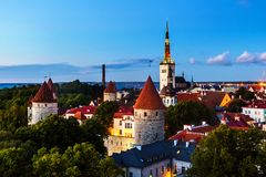 Aerial view of Tallinn, Estonia at sunset royalty free stock images