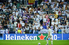 TALLINN, ESTONIA - 15 August, 2018: Fans of Real Madrid in the s Stock Images