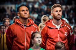 TALLINN, ESTONIA - 15 August, 2018: Keylor Navas and Sergio Ram. Os (R)during the final 2018 UEFA Super Cup match between Atletico Madrid vs Real Madrid at the A Royalty Free Stock Photo