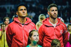 TALLINN, ESTONIA - 15 August, 2018: Keylor Navas and Sergio Ram. Os (R)during the final 2018 UEFA Super Cup match between Atletico Madrid vs Real Madrid at the A Stock Photos
