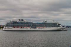 TALLINN, ESTONIA - AUGUST 24, 2016: MS Regal Princess Royal-class cruise ship operated by Princess Cruises in a harbor. In Tallinn royalty free stock photo