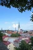 Tallinn, Estonia - August 11, 2014 - panoramic view of Historical Centre of Tallinn, Estonia. Scenic summer beautiful aerial skyli Stock Photo