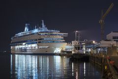 TALLINN, ESTONIA - AUGUST 16, 2018: Tallink ferries at the port stock photo