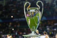 UEFA Champions League Cup. TALLINN, ESTONIA - AUGUST 15, 2018: UEFA Champions League Cup during the match 2018 UEFA Super Cup Real Madrid - Atletico at the stock photo