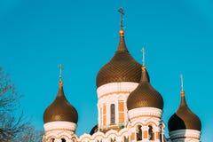 Tallinn, Estonia Bóvedas de Alexander Nevsky Cathedral Is Orthodox Imágenes de archivo libres de regalías