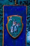 Tallinn, Estonia: Beautiful drawing of colors. Knight on a horse in armor. Popular tourist destination in Estonia`s capital royalty free stock image