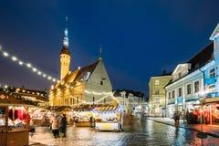Tallinn estonia Boże Narodzenie rynek Na urzędu miasta kwadracie Święta moje portfolio drzewna wersja nosicieli Zdjęcie Royalty Free