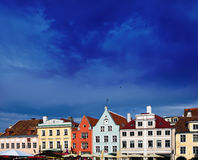 Tallinn, Estonia. Bright multicolor houses on the Town hall square. Royalty Free Stock Image