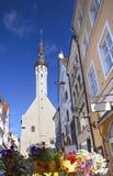 Tallinn, Estonia, calle de la ciudad vieja con casas brillantes y un punto del ayuntamiento foto de archivo