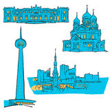 Tallinn Estonia Colored Landmarks. Scalable Vector Monuments. Filled with Blue Shape and Yellow Highlights Royalty Free Stock Photo