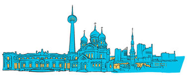 Tallinn Estonia Colored Panorama. Filled with Blue Shape and Yellow Highlights. Scalable Urban Cityscape Vector Illustration Royalty Free Stock Photos