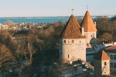 Tallinn estonia Część Tallinn miasta ściana Magdalenki ` s wierza Nunnatorn Zdjęcia Stock