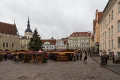 Christmas market at Tallinn`s Town Hall Square. TALLINN, ESTONIA- December 29, 2013: Christmas market at Tallinn`s Town Hall Square. Tallinn is a capital and Stock Image