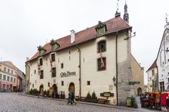 Historical buildings of the Downtown in Tallinn. Stock Images