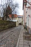 Historical buildings of the Downtown in Tallinn. Royalty Free Stock Image
