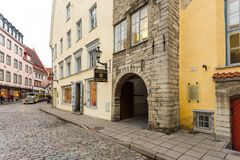 Historical buildings of the Downtown in Tallinn. Royalty Free Stock Photography