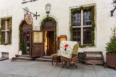 Historical buildings of the Downtown in Tallinn. Royalty Free Stock Photo