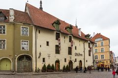 Historical buildings of the Downtown in Tallinn. Stock Photos