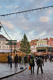 TALLINN, ESTONIA — DECEMBER 01: People enjoy Christmas market Stock Photo