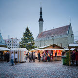TALLINN, ESTONIA — DECEMBER 08: People enjoy Christmas market Royalty Free Stock Photography