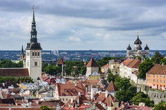 Tallinn, estonia, europe, overview from the church tower of st. olav Royalty Free Stock Photos
