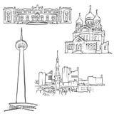 Tallinn Estonia Famous Buildings. Monochrome Outlined Travel Landmarks, Scalable Vector Illustration Stock Photo