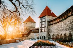 Tallinn, Estonia. Former Prison Tower Neitsitorn In Old Tallinn. Tallinn, Estonia. The Former Prison Tower Neitsitorn In Old Tallinn. Medieval Maiden Tower At stock images