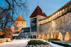 Tallinn, Estonia. Former Prison Tower Neitsitorn In Old Tallinn. Medieval Maiden Tower In Winter Evening Or Night Illumination stock image
