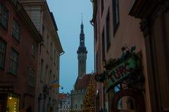 TALLINN, ESTONIA: Hall Tower Anche paesaggio di vecchia città fotografia stock