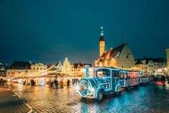 Tallinn, Estonia. Holiday Train for Sightseeing Near Traditional royalty free stock photography