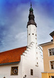 Tallinn, Estonia. Holy Spirit Church and the old clock (1684) Stock Images