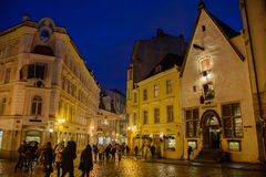 Tallinn, Estonia - January 3, 2015: Christmas market on the central square of Tallinn Stock Photos