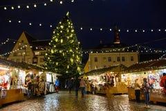 Tallinn, Estonia - January 3, 2015: Christmas market on the central square of Tallinn Stock Image