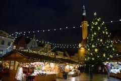 Tallinn, Estonia - January 3, 2015: Christmas market on the central square of Tallinn Royalty Free Stock Photos