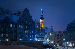 Niguliste Street, view of Town Hall in evening. royalty free stock photos