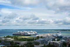 TALLINN, ESTONIA - JULY 22, 2015: Ferryboat terminal of Port of Tallinn and big cruise ships, a view from observation deck at the Stock Image