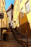 Stone stairs in Tallinn, Estonia. TALLINN, ESTONIA - JULY 9, 2017: Stone stairs at Luhike jalg, or Short Leg street in the Old Town of Tallinn, UNESCO World Royalty Free Stock Images