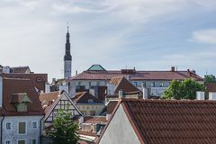 Tallinn, Estonia - July 06, 2016: Streets, Houses and roofs of Tallinn in the summer day. Stock Photo