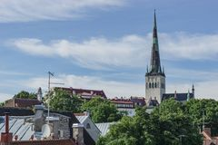 Tallinn, Estonia - July 06, 2016: Streets, Houses and roofs of Tallinn in the summer day. stock photography