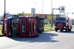 Tallinn, Estonia - June 26: Red Man D20 trailer truck crashed an Stock Image