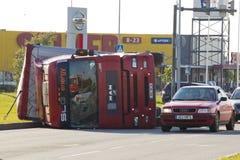 Tallinn, Estonia - June 26: Red Man D20 trailer truck on June26, Royalty Free Stock Photos