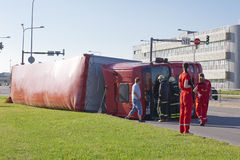 Tallinn, Estonia - June 26: Red Man D20 trailer truck on June26, Stock Photography
