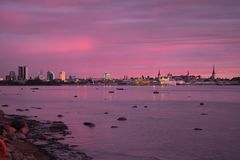 Skyline of Tallinn - viewed from East stock images